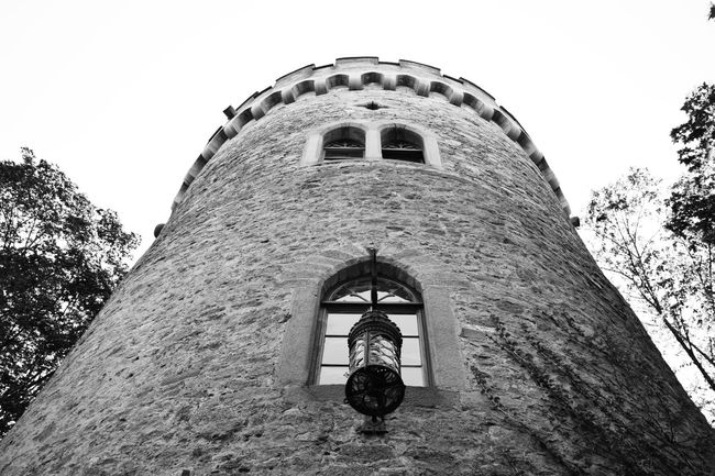 The tower Architecture Architecture Architecture_collection B & W  Black & White Black And White Black And White Collection  Black And White Photography Black&white Blackandwhite Blackandwhite Photography Blackandwhitephotography Building Exterior Built Structure Monochrome Photography Castle Historic History Low Angle View Old Tall - High The Past Tower Turm Window