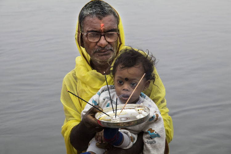Father with son in water