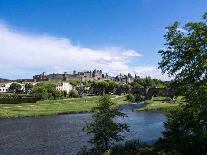 Architecture Carcassonne Castle France Sky Town