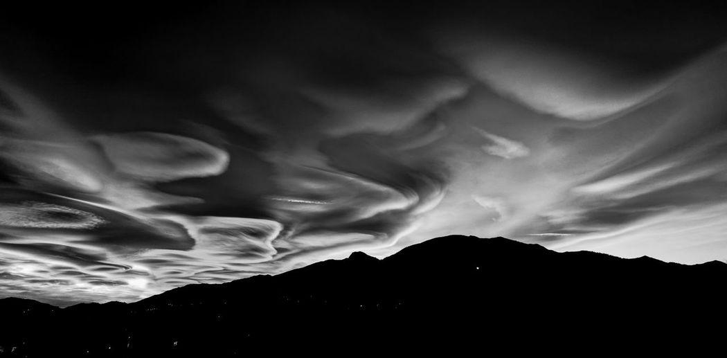 Silhouette mountain against sky