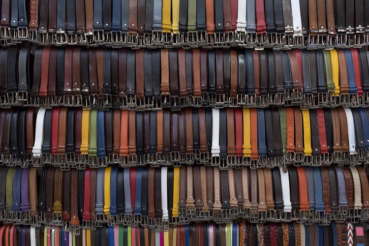 Full frame shot of colorful belts for sale at market stall