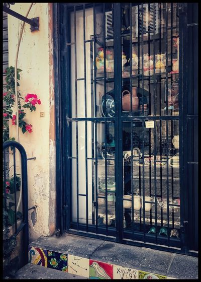 EyeEmNewHere Window Door Architecture Day Building Exterior No People Built Structure Outdoors Flowers Storefront Bars Iron - Metal Glass Reflection Israel Tel Aviv City Closed Shabbot Closed Door Tiles Clay Pot Fence Colorful