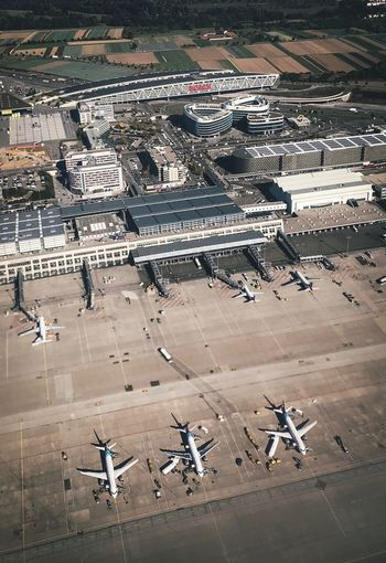 Abgehoben. Businesstrip Holiday Travel Flughafen Stuttgart High Angle View Day City Transportation Nature Air Vehicle Outdoors Airport Architecture Airplane Mode Of Transportation Sign No People Built Structure Road Marking Symbol Airport Runway Directly Above Street