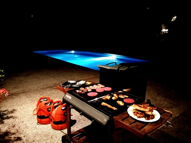 EyeEmNewHere Food And Drink Food No People Night Nightlife Poolparty Bbq Night BBQ Freshness Indoors  Friends ❤ Calm