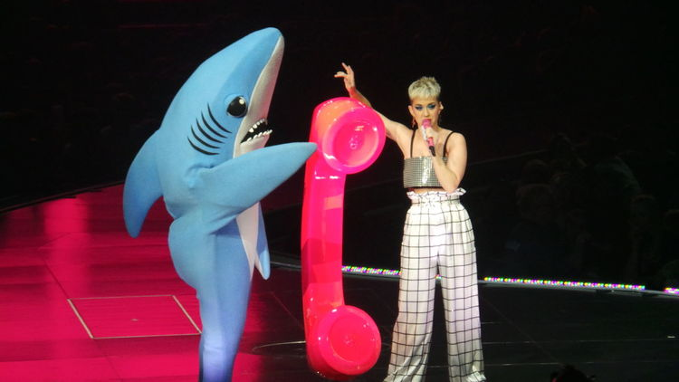 Katy Perry talking on the big Pink phone with her mom & LeftShark Katy Perry Concert Photography Costume Illuminated Indoors  Leftshark Live Concert Night Real People Standing Witness Tour Xcel Energy Center