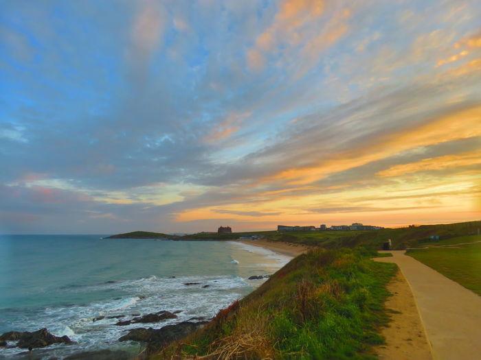 Fistral Headland Morning Sun Up Sea Beach Multi Colored
