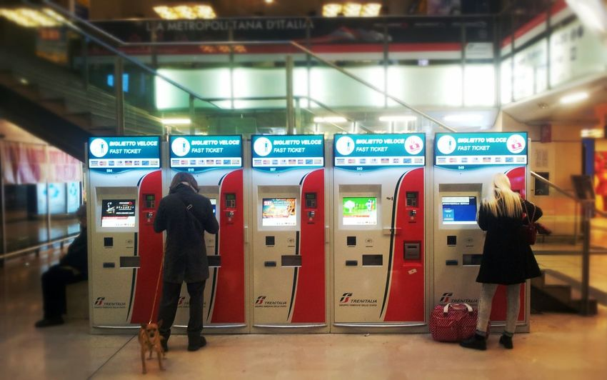 Communication Travel Full Length Waiting Arrival People Passenger Tickets Ticket Machines Station Railway Station Porta Garibaldi Milano Day Background Defocus Red Dog Blonde Hair Display Check