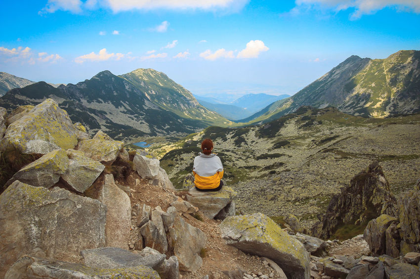 Retezat mountains Adventure Backpack Beauty In Nature Cloud - Sky Day Full Length Hiking Landscape Leisure Activity Lifestyles Mountain Mountain Range Nature One Person Outdoors Physical Geography Real People Rear View Rock - Object Scenics Sky Tranquil Scene Tranquility Vacations Women Love Yourself Go Higher