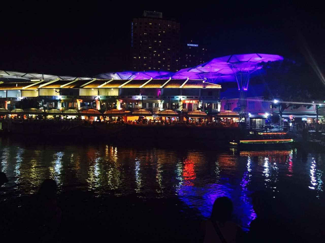 illuminated, night, building exterior, water, architecture, reflection, built structure, waterfront, outdoors, nautical vessel, transportation, no people, city, sky
