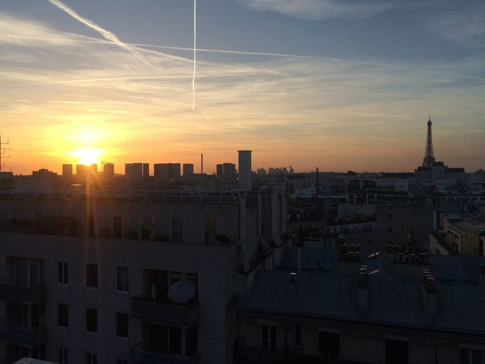 Rooftop Nofilter Sunset Eiffel Tower Paris On Top Of The World