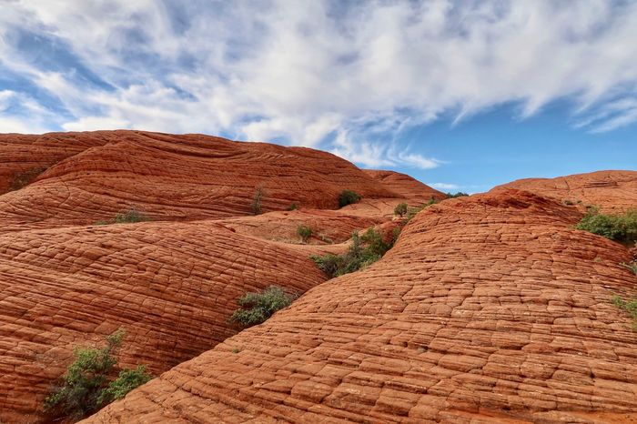 Low angle landscape of an orange hillside with a hatch pattern all over it Snow Canyon State Park Cloud - Sky Sky Scenics - Nature Tranquil Scene Nature Tranquility No People Non-urban Scene Beauty In Nature Rock Brown Land Environment Landscape Day Rock - Object Solid Rock Formation Geology Idyllic The Great Outdoors - 2018 EyeEm Awards