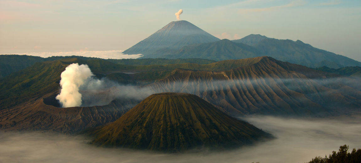 Mount Bromo at Sunrise East Java, Indonesia Gunung Bromo Mount Bromo Active Volcano Beauty In Nature Landscape Mountain Nature No People Outdoors Scenics Tranquil Scene Tranquility Volcanic Crater Volcanic Landscape Volcano