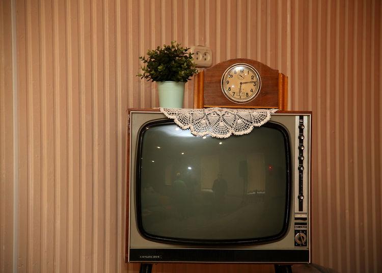 Vintage Television Set At Home