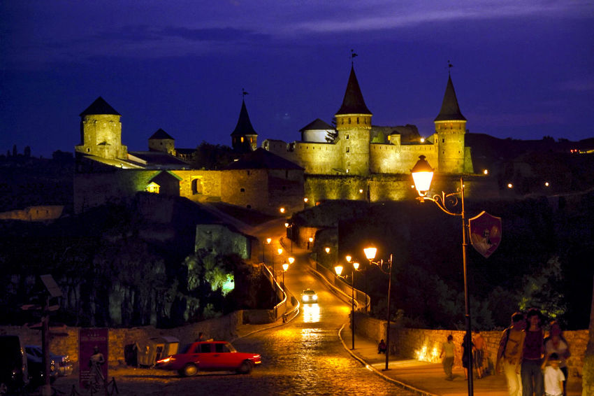 Castle Ukraine Architecture Building Exterior Built Structure City Dusk Fortress Illuminated Kamenets-Podolsky Night Outdoors Sky Travel Destinations Your Ticket To Europe