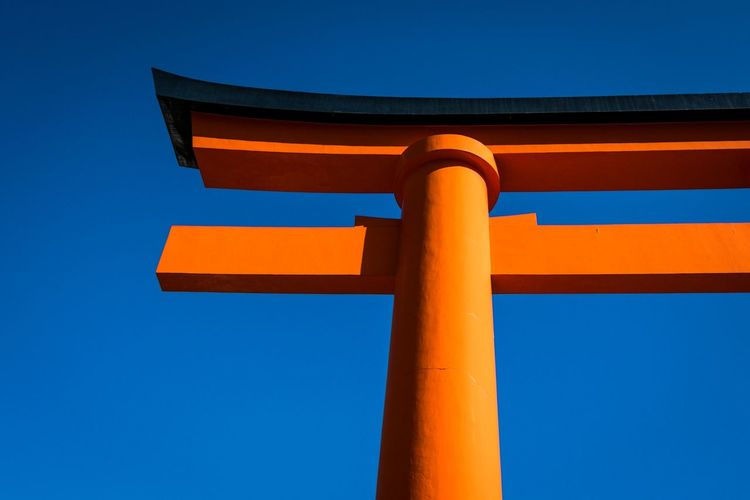 EyeEm Selects Osaka Japan Blue Orange Color Yellow Low Angle View Outdoors No People Clear Sky Day Sky Architecture Sunset Architectural Column Close-up Connected By Travel