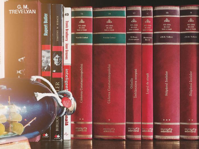 Close-up of red books in shelf