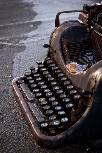 Close-up of abandoned typewriter