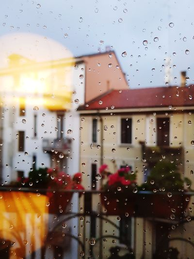 Focus On Foreground Waterdrops Balcony Balcony View Focused Focus On Details Springtime Water Drop Window Wet Abstract Glass - Material Sky RainDrop Rainy Season Weather Pixelated Rain Rainfall
