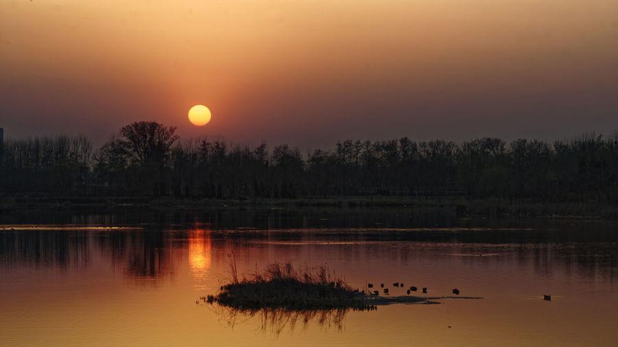 日落 夕阳西下 余晖 Orange Color Outdoors Lake Water Sun Dawn Beauty In Nature