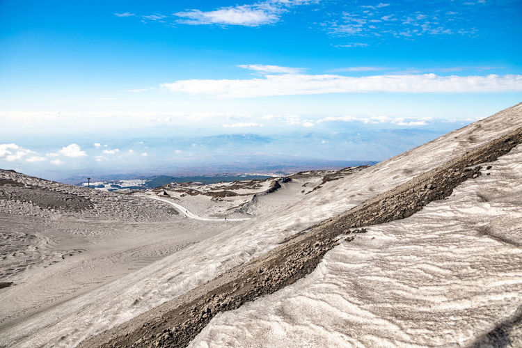 Etna Volcano Sicilia Italy Sicily Winter Snow Sky Cloud - Sky Environment Scenics - Nature Landscape Tranquility Tranquil Scene Beauty In Nature Land Non-urban Scene Day Nature Travel Destinations Sand Blue No People Mountain Travel Desert Geology Outdoors Climate Arid Climate