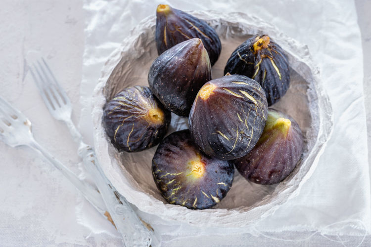 High Angle View Of Figs On Table