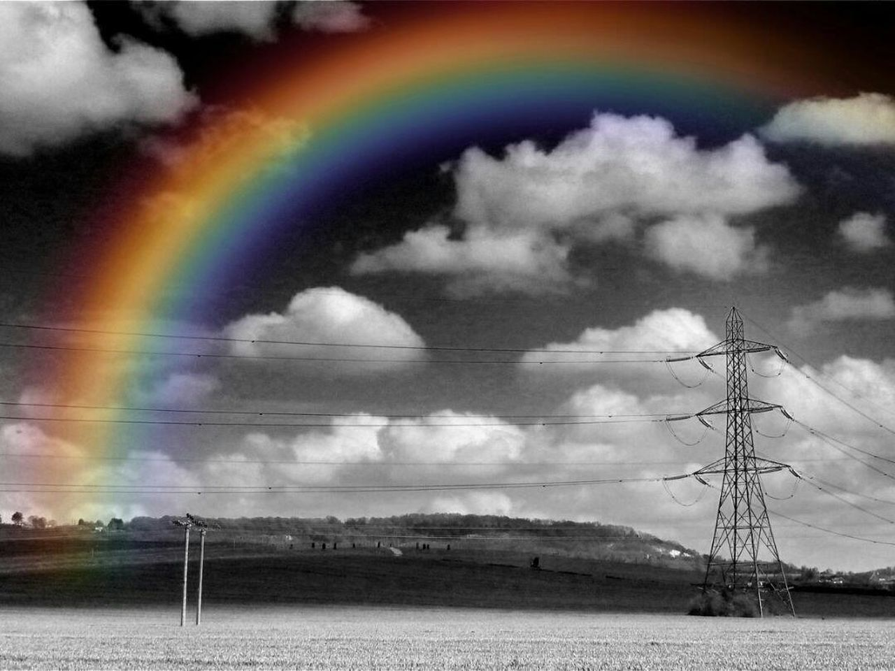rainbow, cloud - sky, sky, landscape, no people, multi colored, nature, outdoors, scenics, tranquility, day, beauty in nature