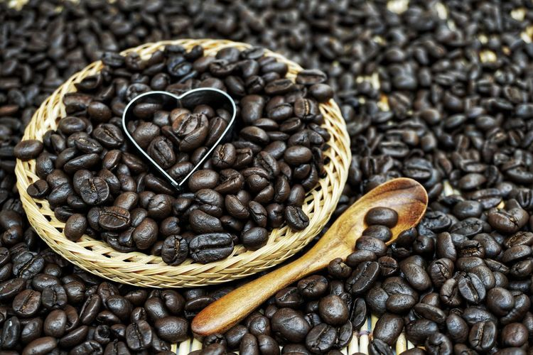 Close-up of heart shape coffee beans
