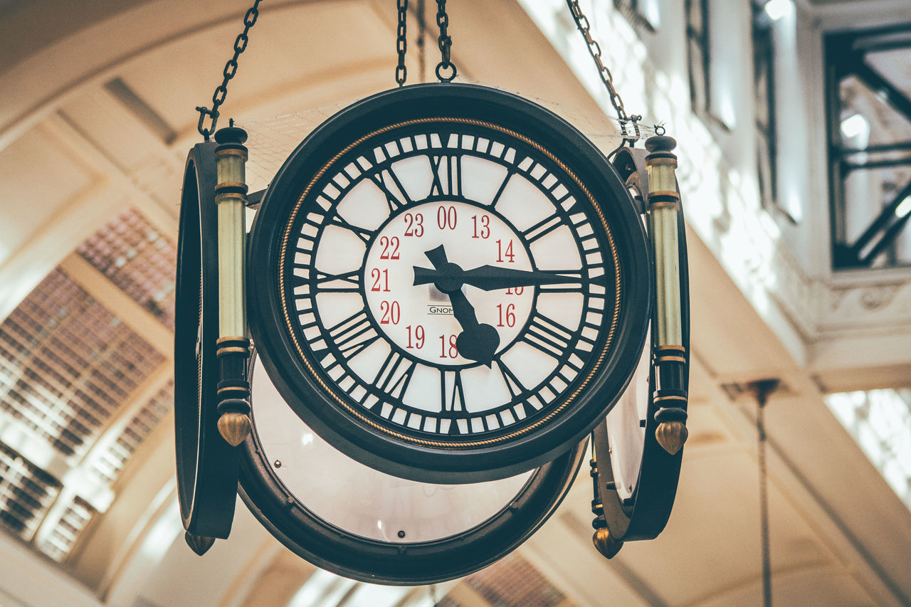 time, clock, roman numeral, low angle view, clock face, minute hand, no people, indoors, close-up, day, focus on foreground, architecture, hanging, hour hand