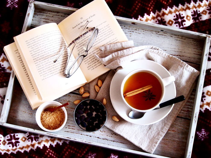 Having a cup of spice tea Food Styling Life Style Relaxing Wintertime Book Close-up Coffee Cup Comfortable Drink Food And Drink Freshness High Angle View Refreshment Table Tea - Hot Drink Tea Time Food Stories