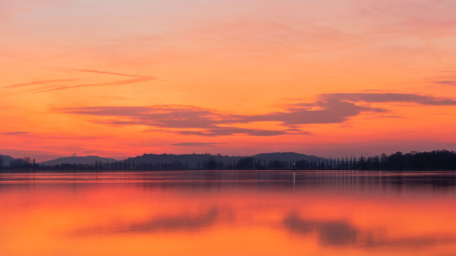 Red sunset lake