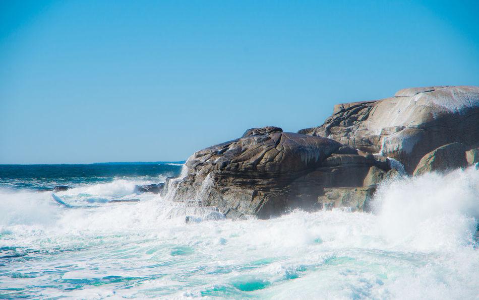 Nova Scotia Prospect Wave Crash Bright Blue