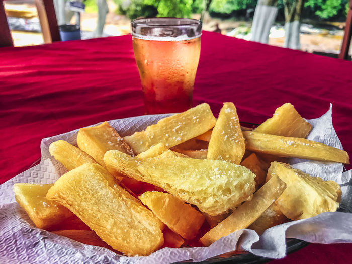 Fried cassava, salt and beer... Amazon Photography Beer Glass Cassava Close-up Day Drink Drinking Glass Food Food And Drink Freshness Fried Cassava Indoors  No People Ready-to-eat Table