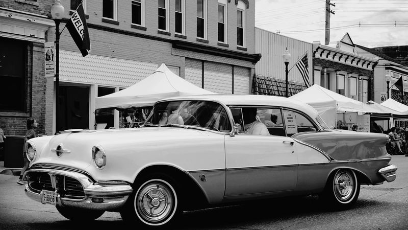 Czech Festival Parade Monochrome Super Retro On The Street Automobile 1956 Oldsmobile Main Street USA History Through The Lens