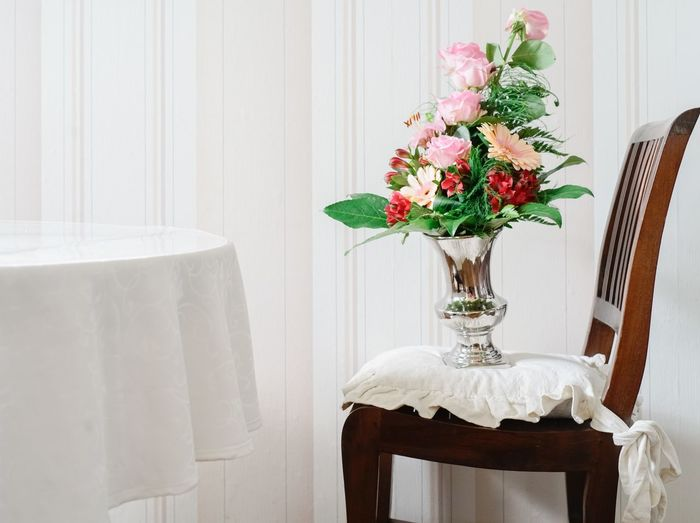 Interior with bunch of fresh flowers