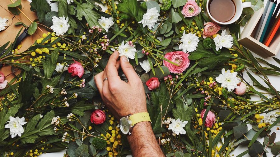 Cropped hand of man touching flowers