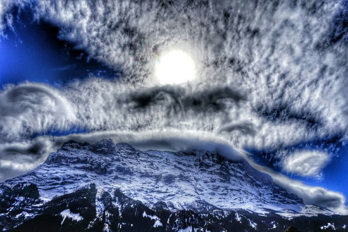 Eiger North Face Mountain View Clouds And Sky Changing Weather Föhn Lenticularis Foehn Clouds before the storm