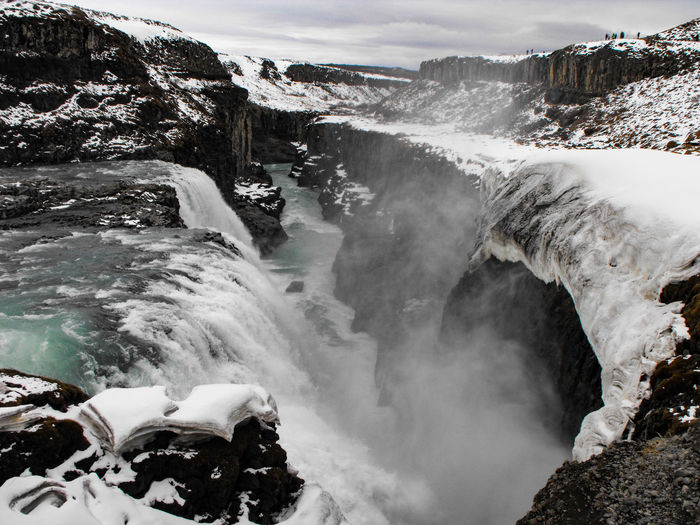 Water Waterfall Outdoors River Nature Motion Mountain Travel Destinations Scenics Landscape Beauty In Nature Day Power In Nature Wave Sky Iceland Gullfoss Falls Gullfoss Canyon Rift Basalt Tectonic Volcanic Landscape Snow Arctic Been There.