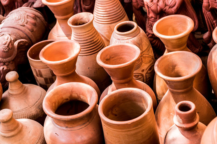 High angle view of earthenware pots