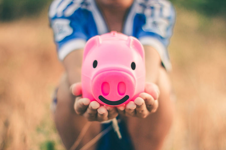Holding One Person Savings Finance Close-up Piggy Bank Pink Color Investment Human Hand Hand Business Midsection Responsibility