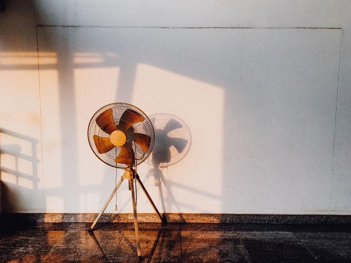 Electric fan on floor