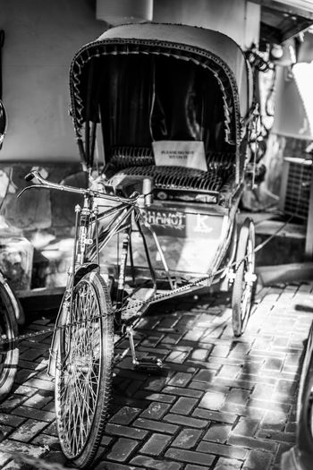 vintage tricycle Blackandwhite Vintage Tire Stationary Bicycle Land Vehicle Old-fashioned Pedal Wheel Retro Styled Architecture Tricycle Carriage Retro