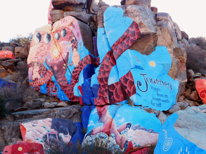Art And Craft Artist Purcell Blues And Reds Chloride Arizona Creativity Multicolored Mural Outside Rock Southwest Art Texture
