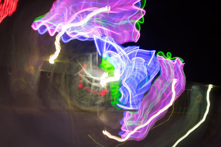Jul 2018 - Colfax Avenue Neon Black Background Blurred Motion Complexity Creativity Design Flowing Glowing Illuminated Light Trail Long Exposure Motion Multi Colored Multi-colored Neon Sign Night No People Pattern Purple Speed
