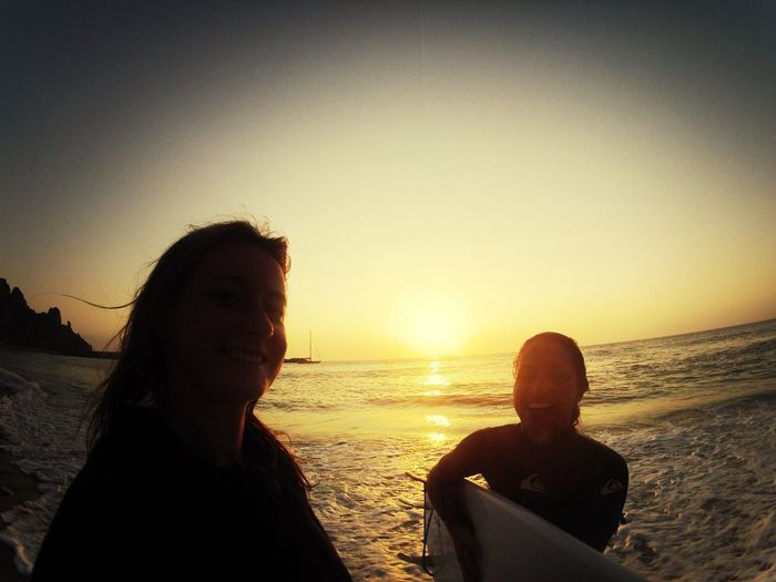 Sunset Silhouettes Surfing Sunset Happy Girls
