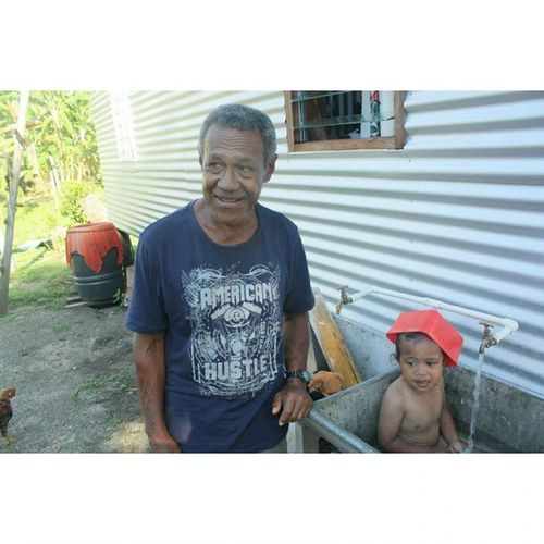 Throw back Thursday :) rewind to when the whole family went to my Mum's village in Fiji to visit our grandpa Sam!!! x Everyday was a surprise, and with the sun always shining, you'd occasionally find the bro Baby Sam in the backyard sink cooling off. Throwback Fiji Babybro