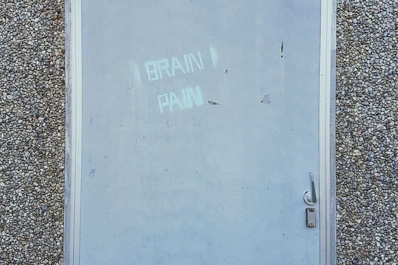 No People Text Outdoors Handwriting  Day Close-up Brain Pain Door Doorhandle Entering Waiting On The Other Side Wall Blue Stone Wall Industry Graffiti Transformer EyeEm Gallery Eye4photography  EyeEmBestPics Streetphotography