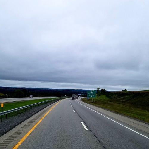 Truckerslife Road Sea Dramatic Sky Sky Landscape Cloud - Sky Horizon Over Water
