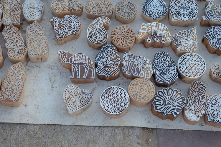 Henna stamps for decorating body or clothes in rajasthan, india