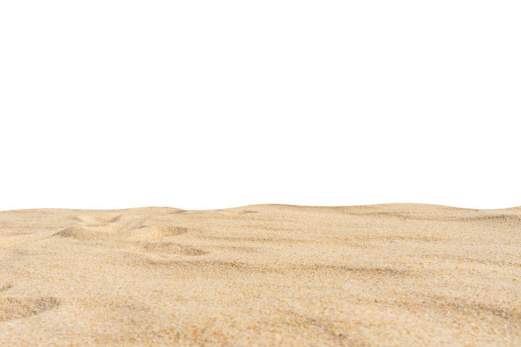 Beach sand texture on white. Copy Space Land Environment Landscape Studio Shot Sand Brown No People Tranquility Nature Sky Climate Desert Scenics - Nature Tranquil Scene White Background Indoors  Day Beauty In Nature Arid Climate