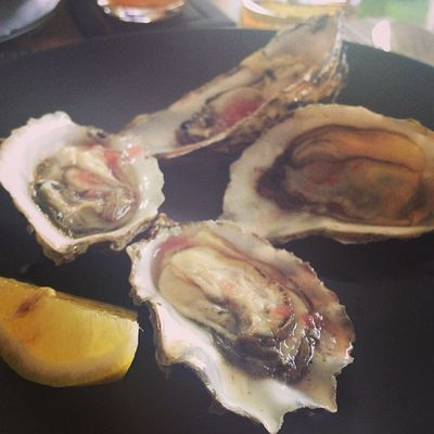 Fresh oysters with red wine vinaigrette